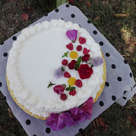 Yummy by Alina Vicu - Novices Only Objects & Still Life ( cake, sponge, mascarpone, peaches, raspberries, lemon,  )