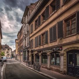 Rue de Veaux by Ole Steffensen - City,  Street & Park  Street Scenes ( haut-rhin, rue de veaux, street, alsace, france, restaurant, strasbourg )