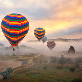 Early Morning over Cappadocia by Rafael Uy - Landscapes Travel ( hot air balloon, goreme, floating, turkey, balloon, cappadocia, garyfonglandscapes, holiday photo contest, photocontest, air, transport,  )