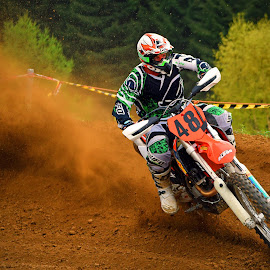 Great Show! by Marco Bertamé - Sports & Fitness Motorsports ( curve, turn, bike, motocross, dust, motorcycle, clumps, drift, race, accelerating, exit, competition )