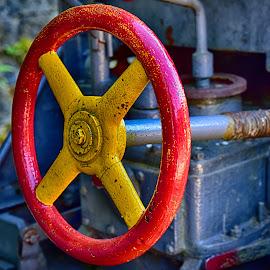 Adjustment Wheel by Marco Bertamé - Artistic Objects Industrial Objects ( red, adjustment, wheel, yellow, machine )
