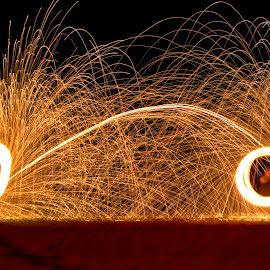 The Dual Fire Rings by Nick Ericson - Abstract Fire & Fireworks ( beauty, night, show, amateur, abstract, travel photography, rings, light, beginner, thailand, beach, light painting, fire, travel )
