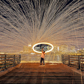 Spin Master by Ron Phillips - City,  Street & Park  Night ( urban, boston, steel wool, park, night photography, long exposure, fire, city )