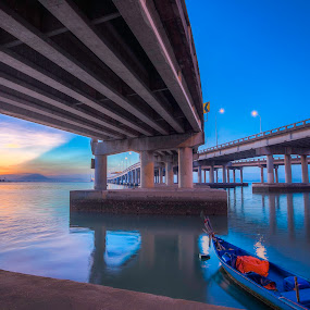 penang bridge by P Hin Cheah - Landscapes Sunsets & Sunrises ( penang bridge, penang, sunrise, bridge, boat )