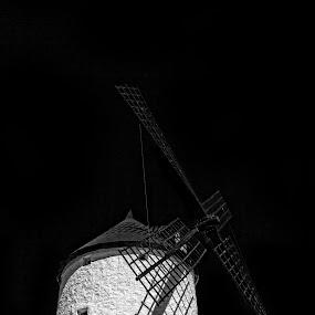 Molino de viento by Daly Sda - Black & White Buildings & Architecture ( black and white, consuegra, architecture, castillalamancha, windmill,  )