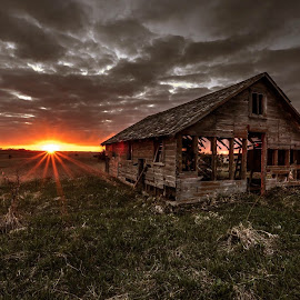 Last stand by Casey Mitchell - Buildings & Architecture Decaying & Abandoned ( farm, old, barn, sunset, decaying, abandoned )