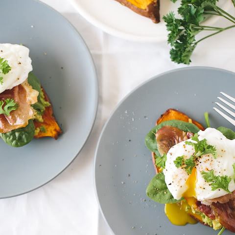 "Sweet Potato ""Toast"" with Avocado, Spinach, Prosciutto and Poached Egg"