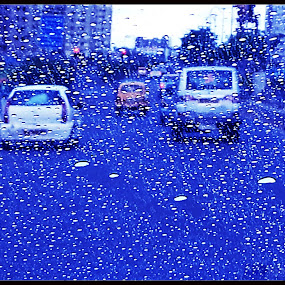 Blue Rain... by Sudipta Jana - Instagram & Mobile Android ( blue, rain, water drop, city, mobile )