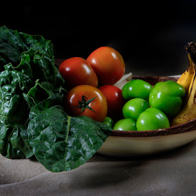 Vegetables and fruits by Cristobal Garciaferro Rubio - Food & Drink Ingredients ( banana, green tomatoes, vegetables, spinach, tomatoes )