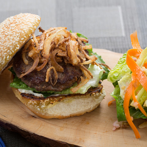 Juicy Lucy Burgers with Frizzled Onion & Romaine-Walnut Salad