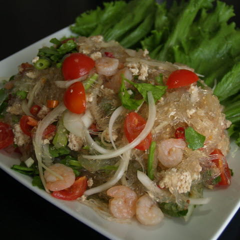 Thai Glass Noodle Salad with Shrimp and Ground Chicken