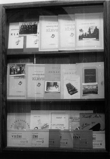 Another display features a number of Matz's published compositions.