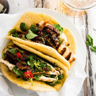 Chimichurri Chicken Tacos with Tomato and Watercress Salad