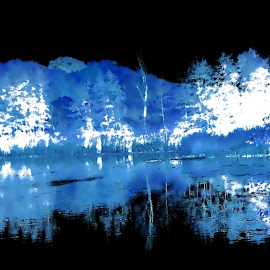 Icy Blue Winter 1 by RMC Rochester - Digital Art Places ( random, nature, abstract, water, manipulation, landscape, colors )