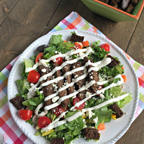 Chopped Sirloin Steak Salad with Feta Cheese and Pine Nuts