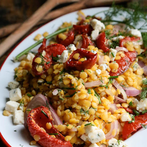 Yellow Lentil Salad with Tomatoes and Gorgonzola