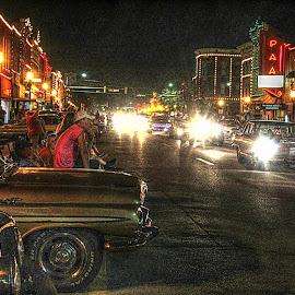 by Karen McKenzie McAdoo - City,  Street & Park  Night