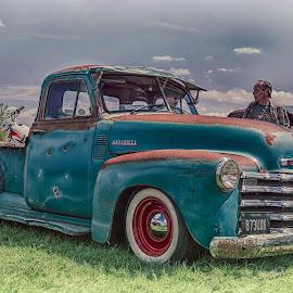 Blue Chevrolet Truck by Jackie Matthews - Transportation Automobiles ( truck, chevrolet, blue, american, classic )