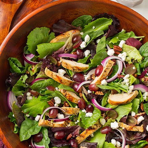 Grilled Chicken and Grape Spring Salad with Goat Cheese and Honey-Balsamic Dressing