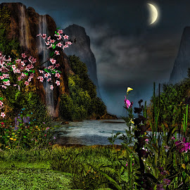 Cherry Tree Cove by Eugene Linzy - Digital Art Places ( water, mountains, moon, waterfall, flowers, dusk )