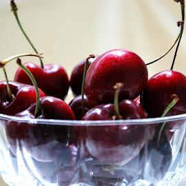 Cherries by Elena Stanescu-Bellu - Food & Drink Fruits & Vegetables ( contrast, bowl, red, color, dark, cherries )