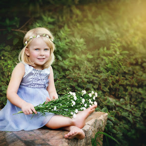 Ashley Rose by Shayne Janks Nicolas - Babies & Children Child Portraits ( little girl, beautiful, fine art, daughter, sunlight, photography, child, princess, sitting, happy, dress, fine art photography, flowers, smile, light )