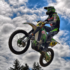 Wild 68 by Marco Bertamé - Sports & Fitness Motorsports ( clouds, wheel, speed, green, yellow, race, noise, jump, flying, motocross, blue, cloudy, grey, air, high )