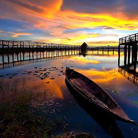 Wood Boat by Arthit Somsakul - Landscapes Sunsets & Sunrises
