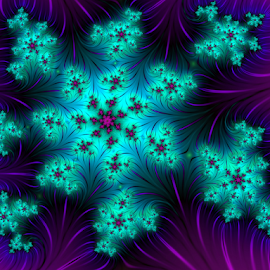 Gloriously blue  by Cassy 67 - Illustration Abstract & Patterns ( fractal art, digital art, star, flowers, fractal, digital, fractals, flower )