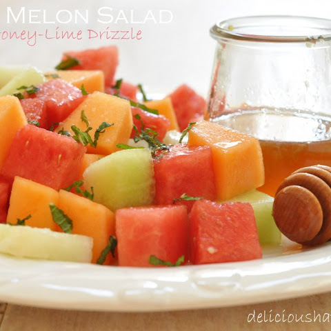 Melon Salad with Honey Drizzle and MInt