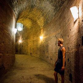 Castel Sant'Angelo by T Sco - Buildings & Architecture Public & Historical ( rome, bricks, path lighting, pathlight, castle, student, castel sant'angelo, walkway, boy, path, light, pathway, man, brick, walk, uphill, architecture )