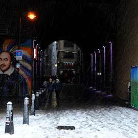 Shakespeare in the Clink by DJ Cockburn - City,  Street & Park  Street Scenes ( underpass, bank end, building, uk, william shakespeare, streetlight, snowstorm, southwark, street art, architecture, mural, cityscape, bankside, city, urban, england, subway, winter, pedestrian, london, blizzard, wagamama, tunnel, clink street )