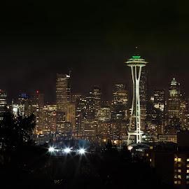 Seattle Skyline by Brad Larsen - City,  Street & Park  Skylines ( lights, buildings, night, cityscape, nightscape )