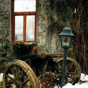 peak in the past by Aleksandar Z Dimitrijević - City,  Street & Park  Neighborhoods ( old house, old, window, snow, wagon, lamp )