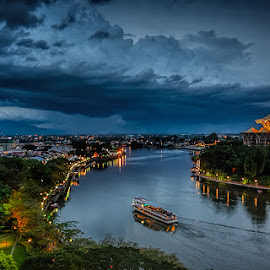 Stormy Evening at Kuching City by Waily Harem - City,  Street & Park  Night ( cityscapes, riverside, kuching riverfront, city park, landscapes )