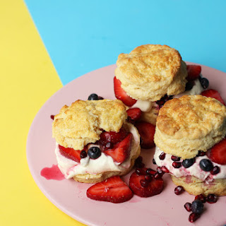 Whipped Yoghurt Shortcakes with Strawberry, Blueberry & Pomegranate