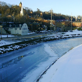 Galena Frozen River and Town Beyond by Kathy Rose Willis - City,  Street & Park  Vistas ( winter, illinois, galenba, snow, vista, town, frozen, river )