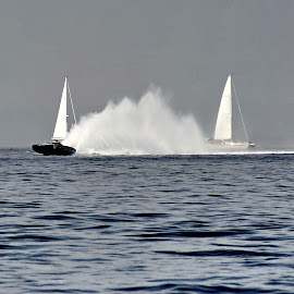 wind vs engine - sailing vs Class One by Bernarda Bizjak - Sports & Fitness Watersports (  )