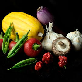 Vegetable Group Portrait by Jim Downey - Food & Drink Ingredients ( peppers, garlic, squash, onion, peas )