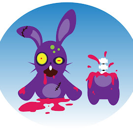 Half-Bunny by Deemarie Valenza - Illustration Cartoons & Characters ( scary, gross, bunny, gore, bloody, cute, horror )