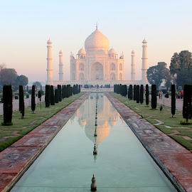 Mere Words Can't Describe Her Beauty.......... by Soutik Halder - Buildings & Architecture Statues & Monuments ( outdoor photography, monument of love, taj mahal, agra, sunrise )