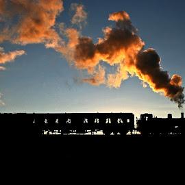 'Jinty leaving Bury' by Katherine Flynn - Transportation Trains ( railway, east lancashire railway, steam train, silhouette, train, elr, dusk, light,  )