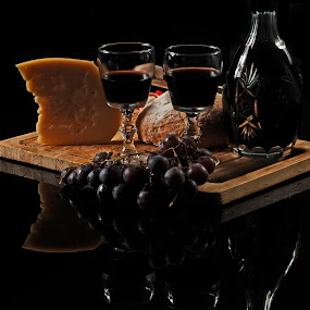 Chesse and Wine by Cristobal Garciaferro Rubio - Food & Drink Ingredients ( wine, cups, grape, chesse )