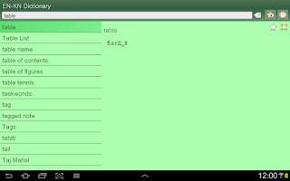 Screenshot of English Kannada Dictionary