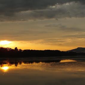 Days End by Jes Stout-Fortenberry - Landscapes Sunsets & Sunrises ( clouds, pwcfoulweather, sunset, twilight, lake, storm, evening )