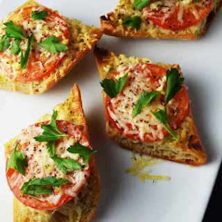 Five Minute Broiled Parmesan Tomato Garlic Baguettes