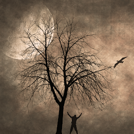 Yelling at the Moon by Bill Tiepelman - Digital Art Places ( bird, moon, tree, yelling, moonlit, cormorant, fine art, silhouettes, moody, landscape, man, moonlight, screaming )