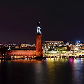 Stockholm City Hall from Monteliusvägen by David Harris - City,  Street & Park  Vistas ( city hall, monteliusvägen, water, sweden, stadshuset, skyline, europe, stockholm, reflections, cityscape, landscape, city, urban, night, long exposure, monteliusvagen )
