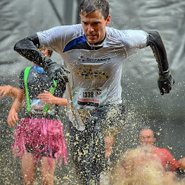 Dertermined & Strong ! by Marco Bertamé - Sports & Fitness Other Sports ( water, splash, splatter, differdange, number, running, luxembourg, muddy, blue, strong, determined, pink, 1338, strongmanrun, man )