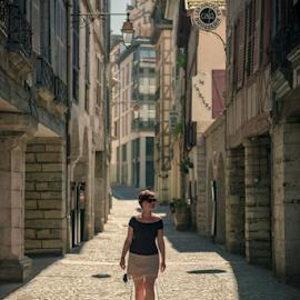 Side Walk When She Walks by Dariusz Stec - People Family ( bayonne, beautiful, summer, symmetric, hot, lady, france, beauty, day, walk, alone )